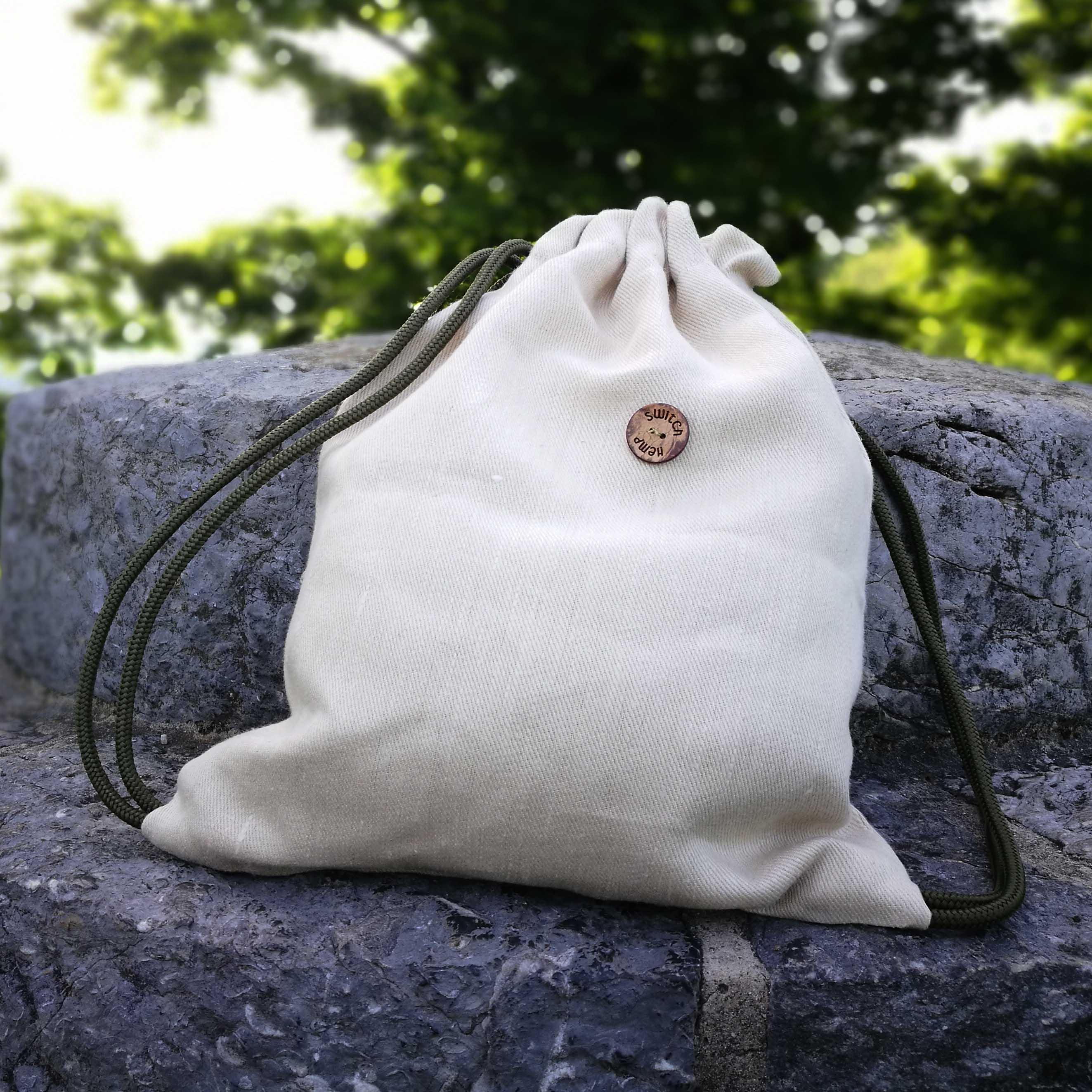 small hemp bag, hemp drawstring bag, hemp backpack